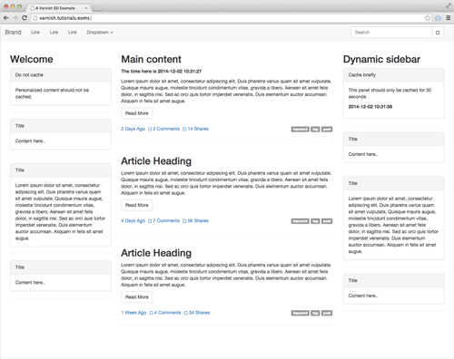 The layout after adding ESI, page components being cached differently.