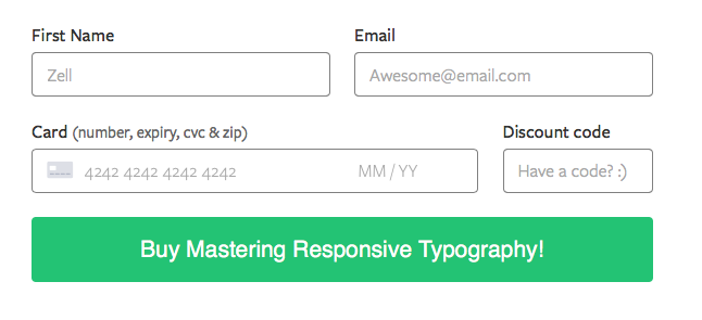 Payment form on Mastering Responsive Typography