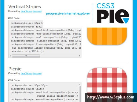 CSS3 Pie Gradient Patterns