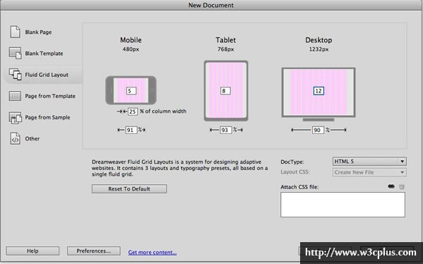 Building fluid grid layouts in Adobe Dreamweaver CS6
